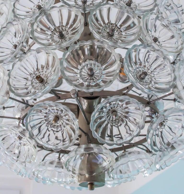 Large Midcentury Vintage Neuco Glass Flower Pendant, 1960s-1970s, Germany For Sale 1