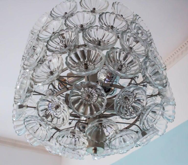 Large Midcentury Vintage Neuco Glass Flower Pendant, 1960s-1970s, Germany For Sale 2