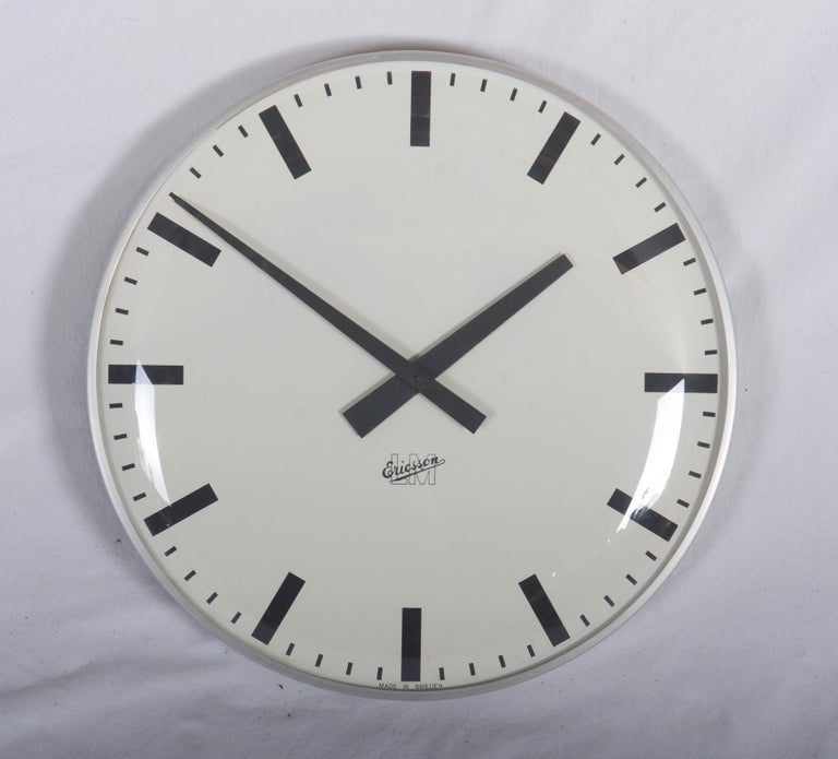 Swedish Large Midcentury Wall Clock by LM Ericsson For Sale