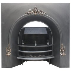 Large Mid Victorian Cast Iron Arched Fireplace Insert
