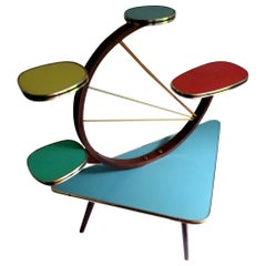 Colourful Midcentury 5-Tier Kidney Plant Stand Planter Shelf, Stilnovo Era