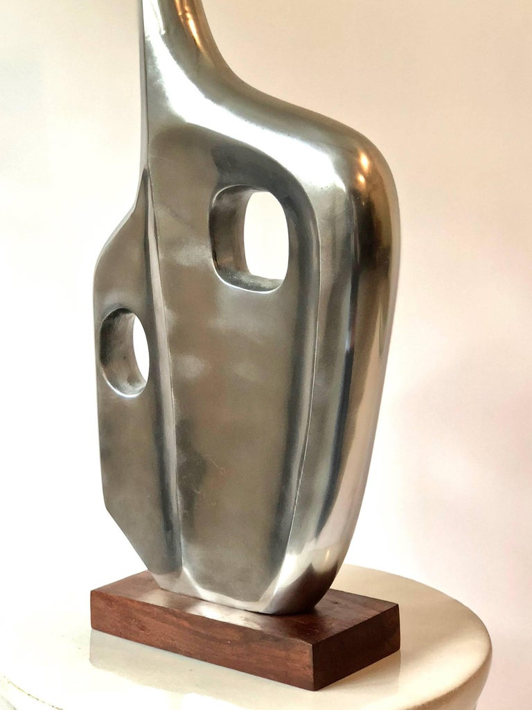 Large Midcentury Style Abstract Chrome Sculpture in the Style of Dorothy Dehner For Sale 1