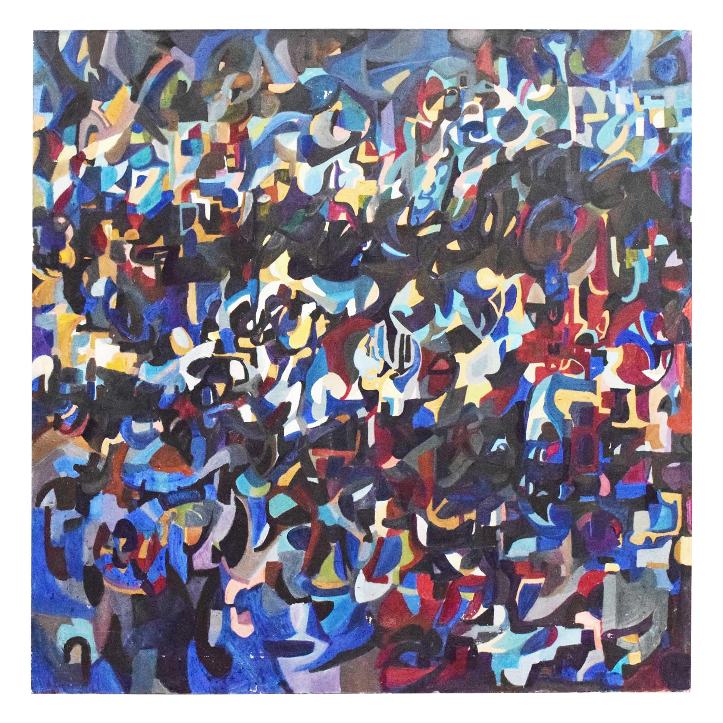 Large Midcentury Abstract Oil on Canvas Signed and Dated, 1971