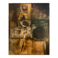 Large Midcentury Abstract Oil Painting in Earth Tones