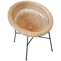 Large Midcentury Basket Armchair