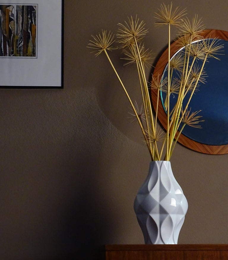 Mid-Century Modern Large Midcentury Bavarian Architectonic Vase with Extruded Losange Pattern For Sale