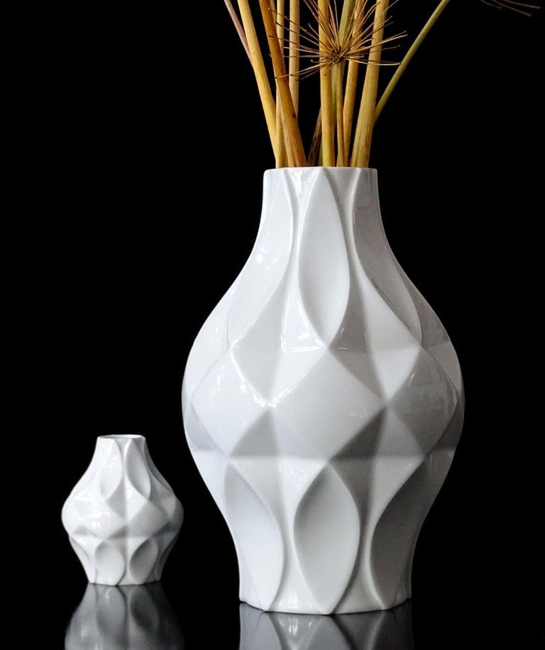 Late 20th Century Large Midcentury Bavarian Architectonic Vase with Extruded Losange Pattern For Sale