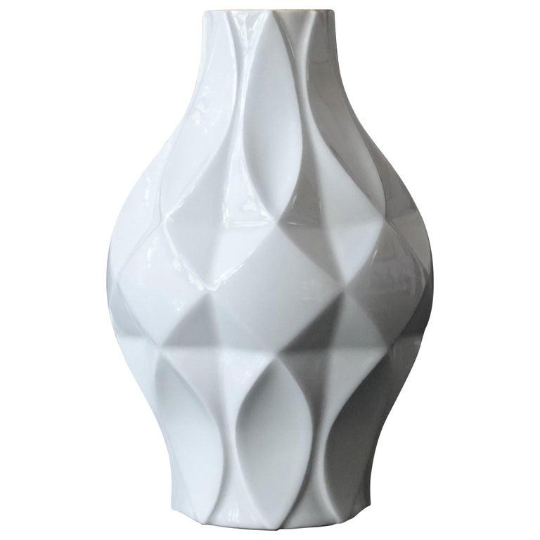 Large Midcentury Bavarian Architectonic Vase with Extruded Losange Pattern For Sale