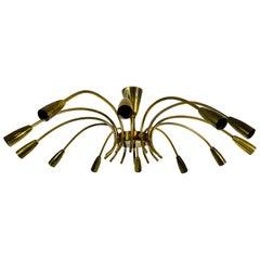 Large Midcentury Brass 12-Arm Sputnik Chandelier by Kalmar, 1950s