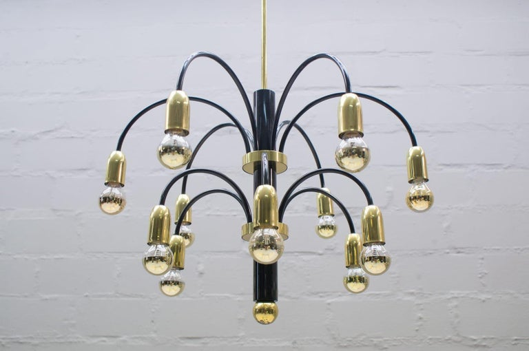 Mid-Century Modern Large Midcentury Brass and Black Pendant Sputnik Lamp, Germany, 1970s For Sale