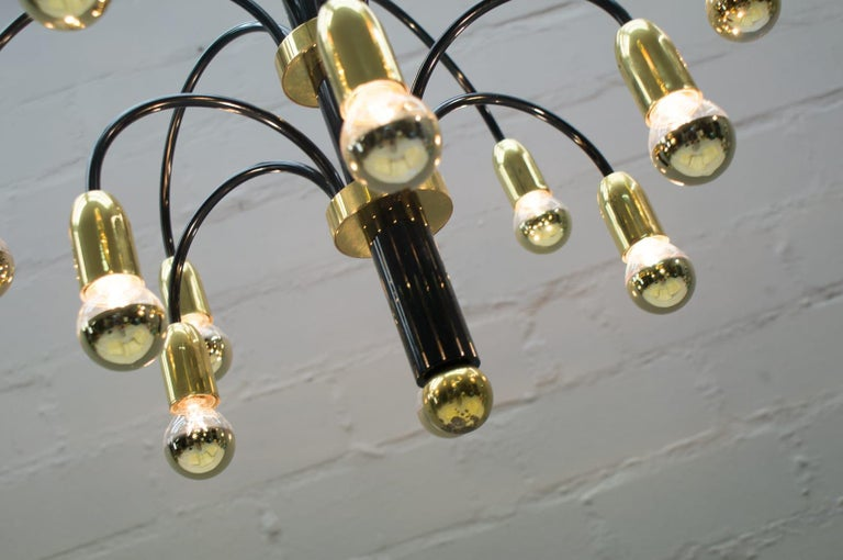 Large Midcentury Brass and Black Pendant Sputnik Lamp, Germany, 1970s For Sale 1