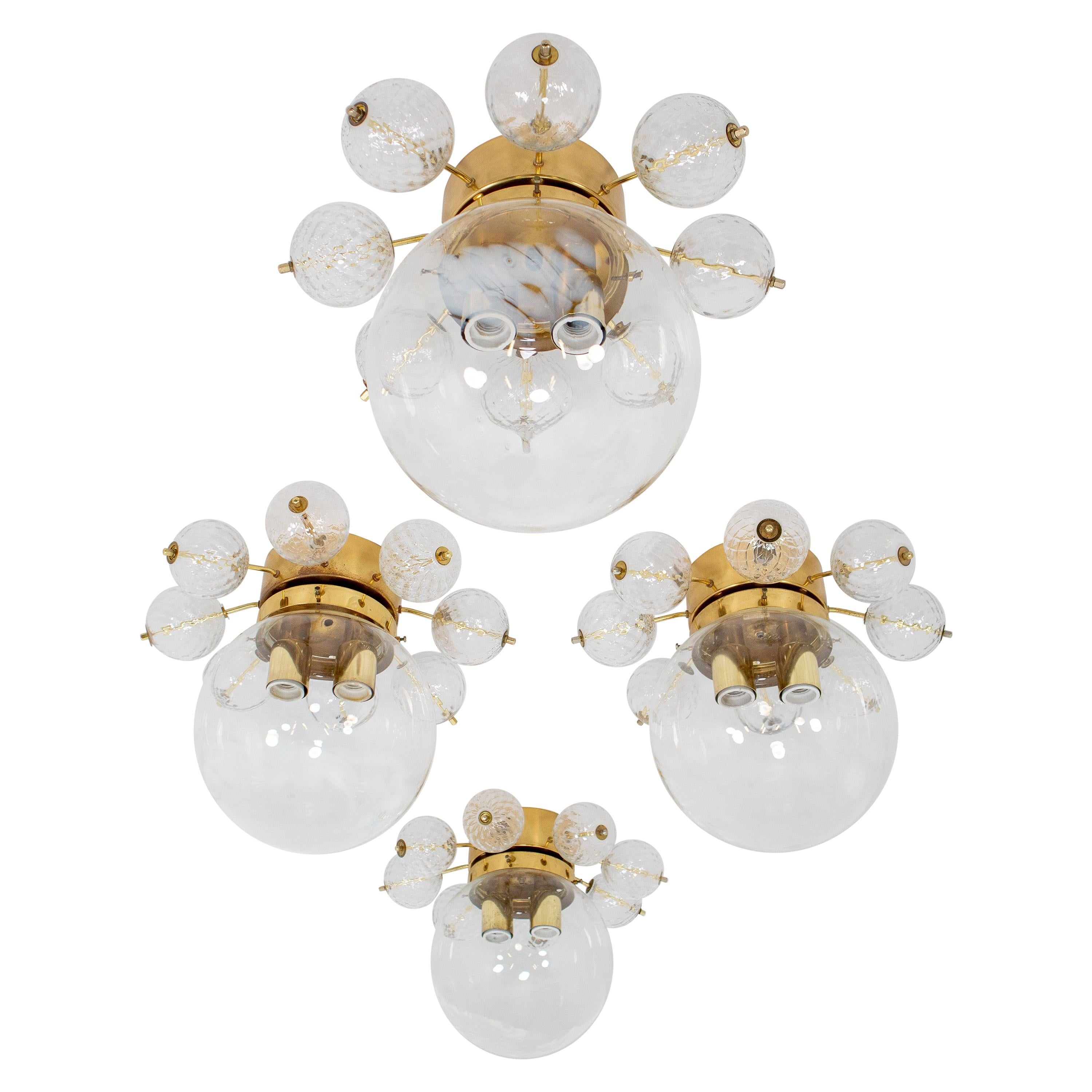 Large Midcentury Brass Ceiling Lamp-Chandelier with Hand Blown Art-Glass, 1960s
