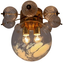 Large Midcentury Brass Ceiling Lamp-Chandelier with Handblown Art-Glass ,1960s