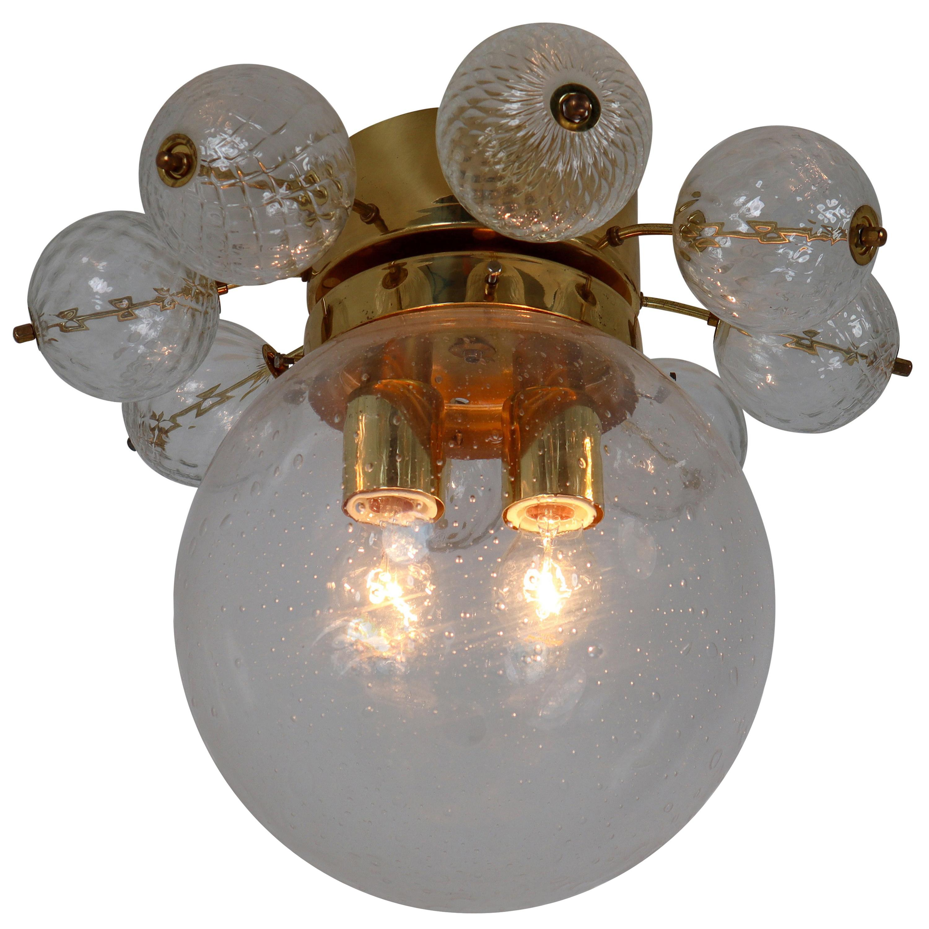 Large Midcentury Brass Ceiling Lamp-Chandeliers with Hand Blown Glass