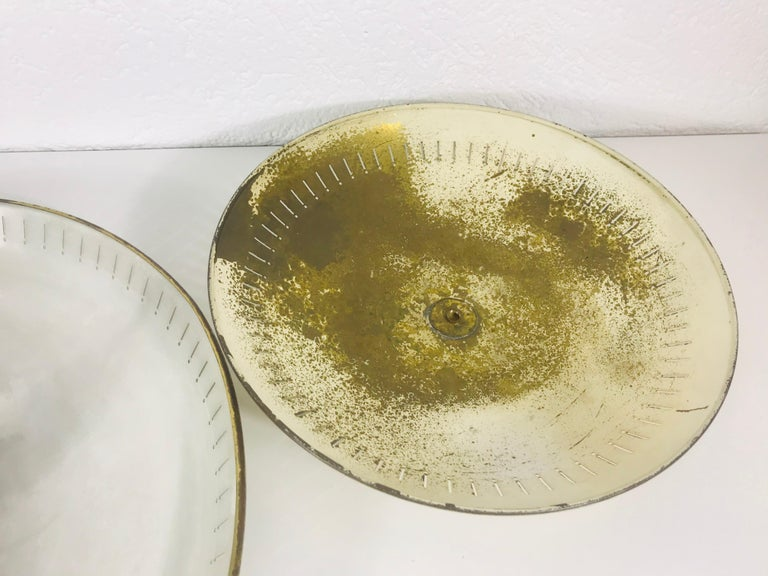 Large Midcentury Brass Flush Mount or Wall Lamp by Hillebrand Leuchten, 1960s For Sale 4