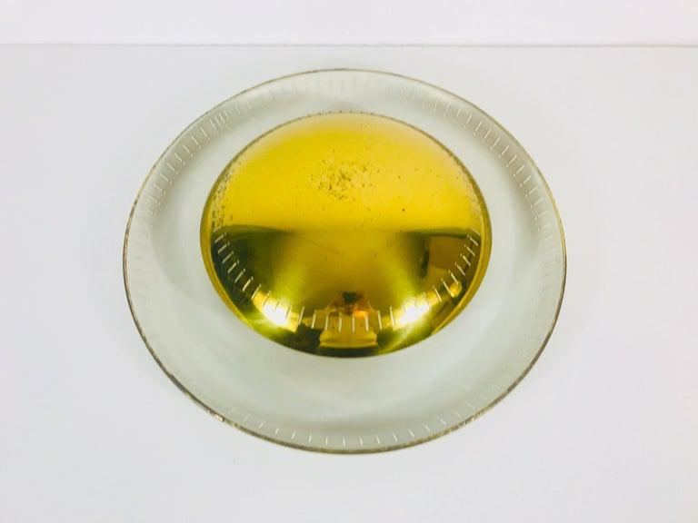 Mid-Century Modern Large Midcentury Brass Flush Mount or Wall Lamp by Hillebrand Leuchten, 1960s For Sale