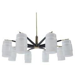 Large Midcentury Brass Pendant Sputnik Lamp, Germany 1970s