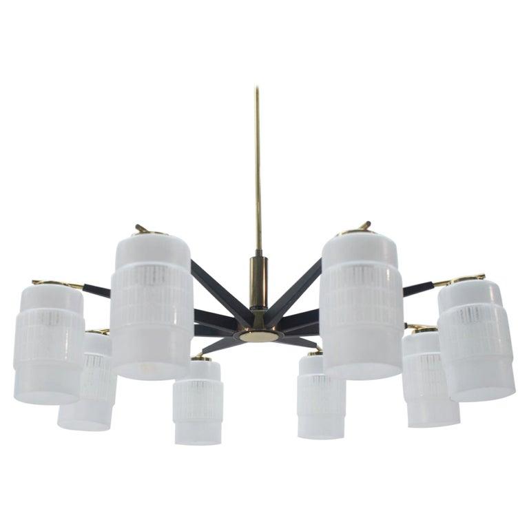 Large Midcentury Brass Pendant Sputnik Lamp, Germany 1970s For Sale