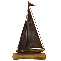 Large Midcentury Brass Sailboat Sculpture on Onyx Base by Demott