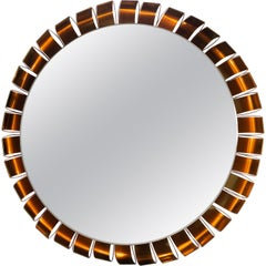 Large Midcentury Bronze Frame Back Lit Mirror
