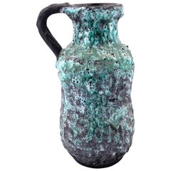 Large Midcentury Brutalist Pitcher in Lava Glaze