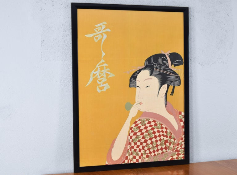 Mid-Century Modern Large Midcentury Canvas Inspired by the Image of Utamaro Woman Playing a Poppin For Sale