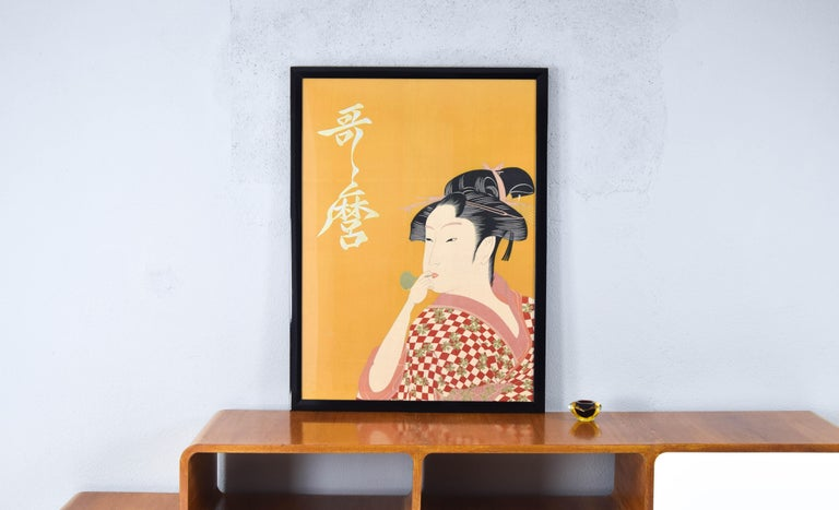 Unknown Large Midcentury Canvas Inspired by the Image of Utamaro Woman Playing a Poppin For Sale
