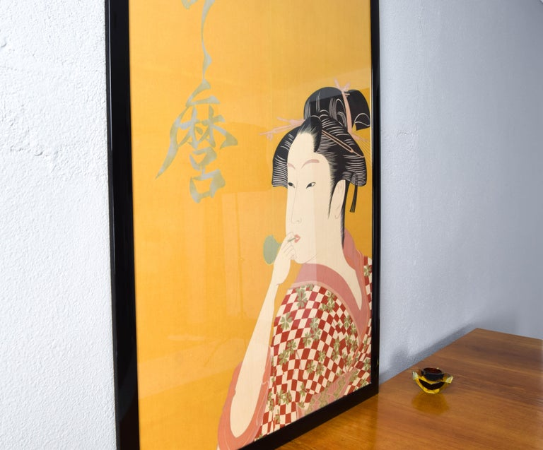 Large Midcentury Canvas Inspired by the Image of Utamaro Woman Playing a Poppin In Good Condition For Sale In Escalona, Toledo.