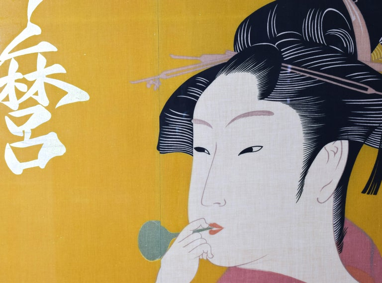20th Century Large Midcentury Canvas Inspired by the Image of Utamaro Woman Playing a Poppin For Sale