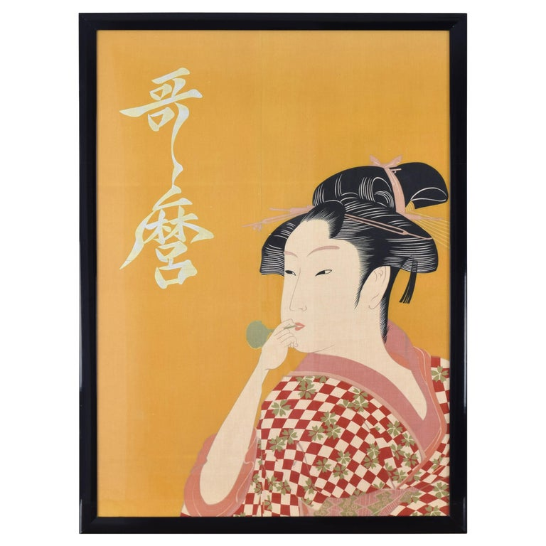 Large Midcentury Canvas Inspired by the Image of Utamaro Woman Playing a Poppin For Sale