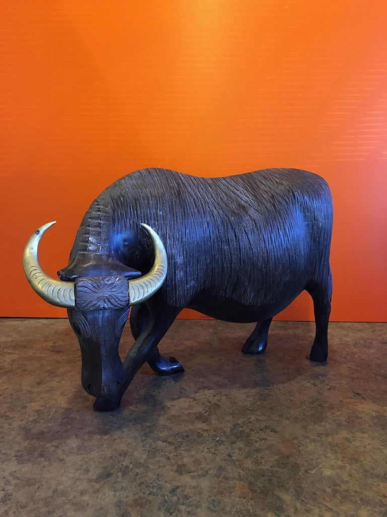 Large Midcentury Carved Wood and Brass Bull Sculpture For Sale 3