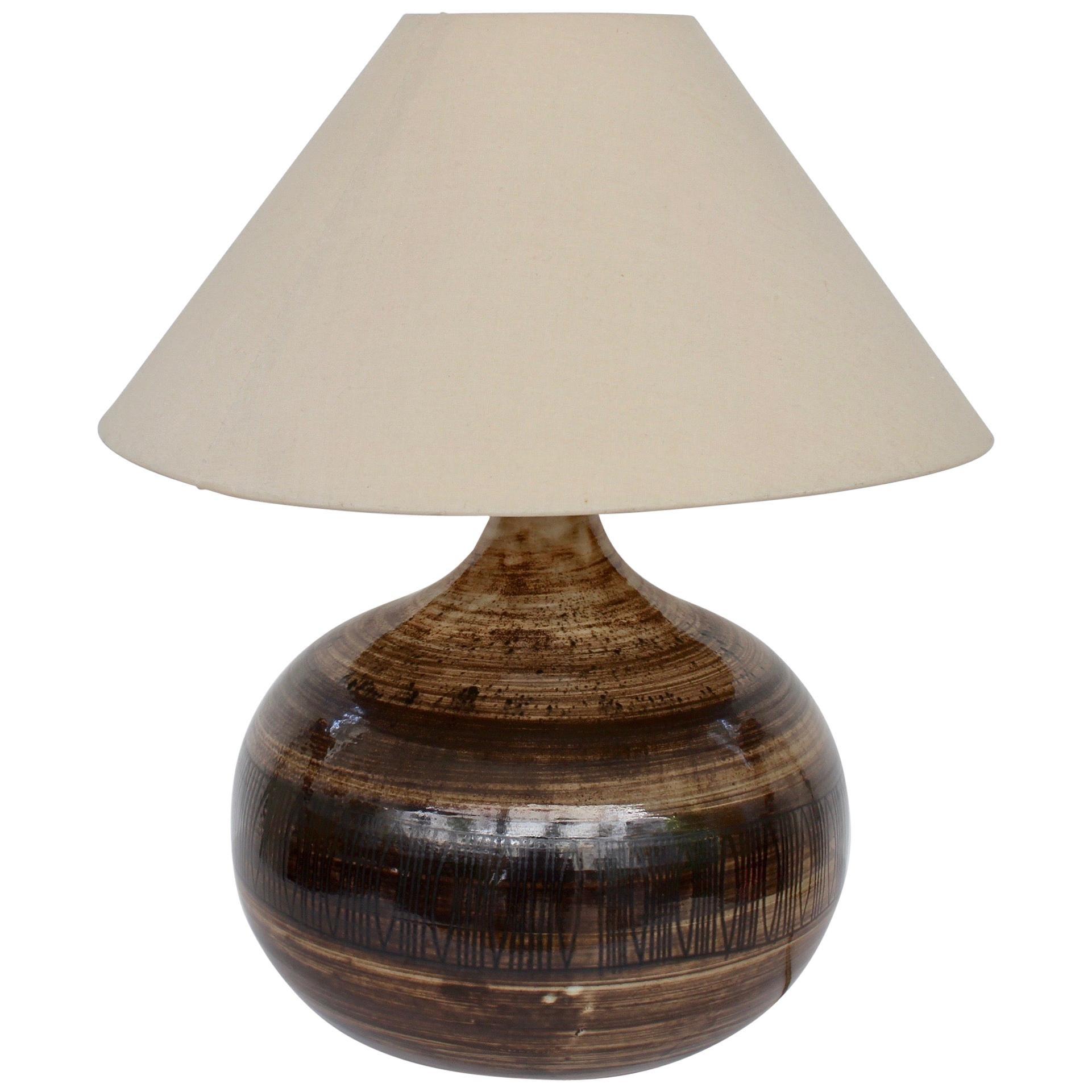 Large Midcentury Ceramic Lamp by Jacques Pouchain / Atelier Dieulefit