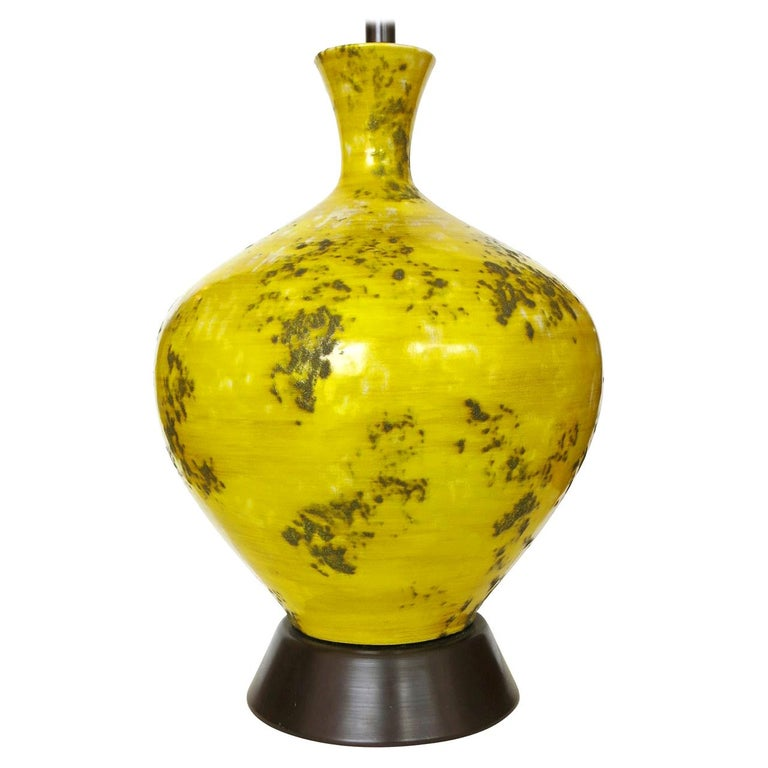 Large Midcentury Ceramic Lamp with Textured Glaze For Sale