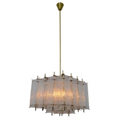 Large Midcentury Chandelier in Structured Glass and Brass from Europe