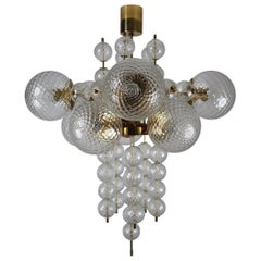 Large Midcentury Chandelier with Brass Fixture and Structured Glass Europe 1970s