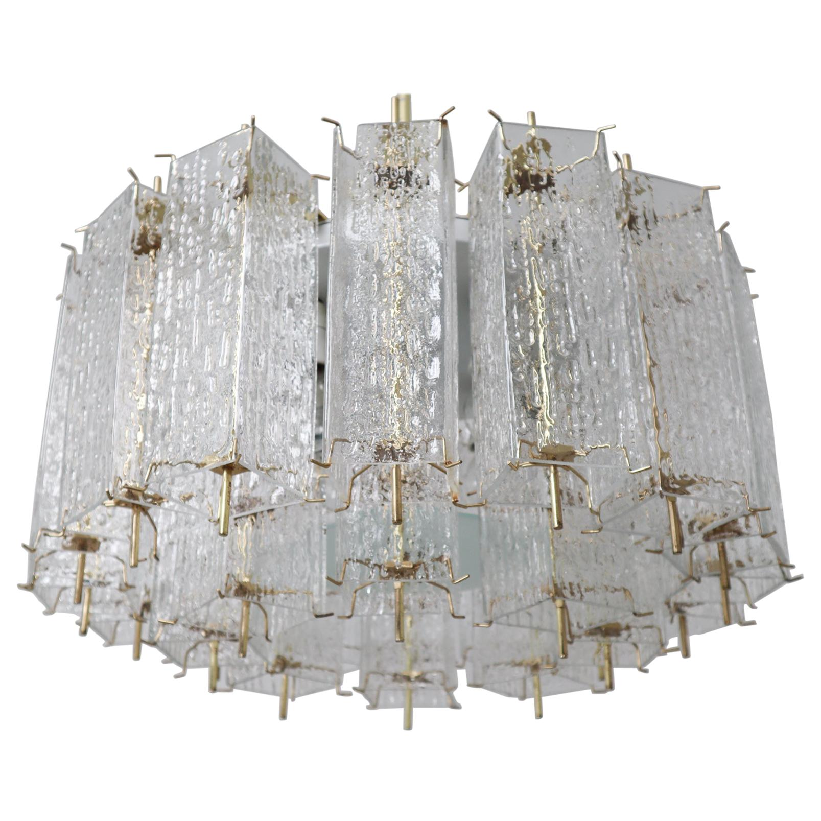 Large Midcentury Chandelier with Ice Glass Tubes in Brass Fixture Europe, 1960s