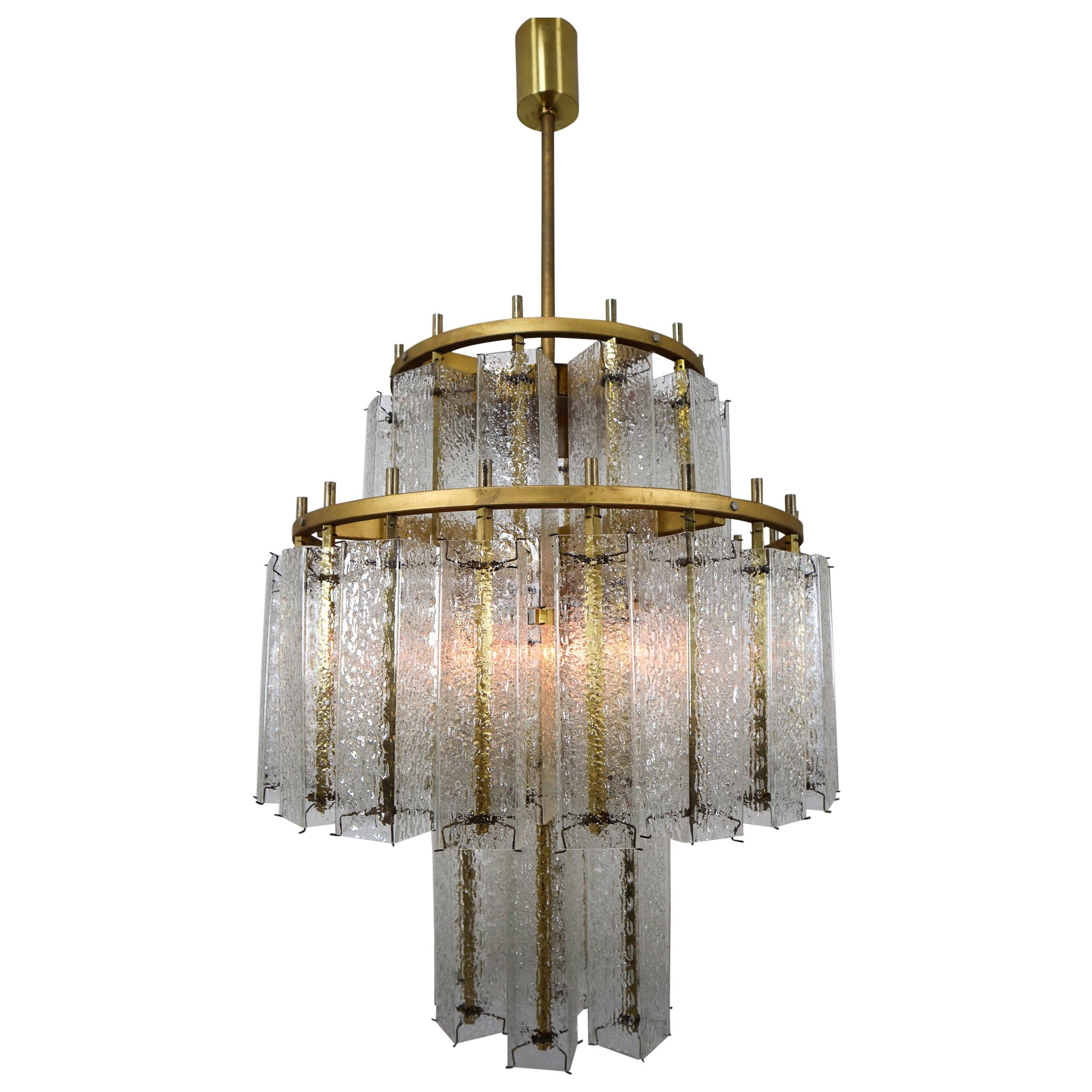 Large Midcentury Chandeliers in Brass and Structured Ice Glass, Austria, 1960s