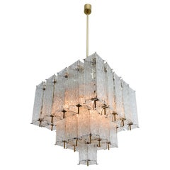Large Midcentury Chandeliers in Structured Ice Glass and Brass, Austria, 1960s
