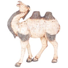 Large Midcentury Chinese Tessellated Bone Camel