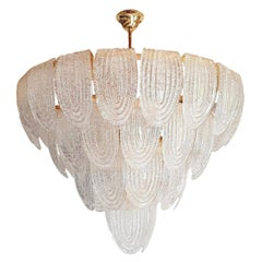 Large MidCentury Clear Murano Glass & Gold Plated Chandelier Mazzega Style Italy