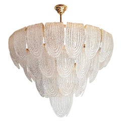 Large Mid-Century Clear Murano Glass & Gold Plate Chandelier Mazzega Style Italy
