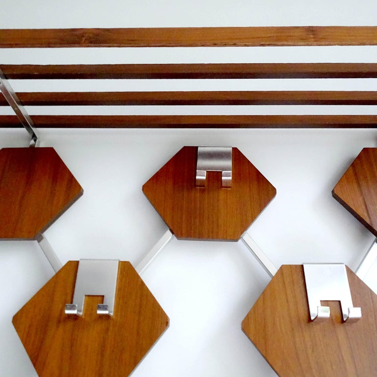 Large Midcentury Danish Modern Wall Mounted Teak Coat Rack, 1960s For Sale 5