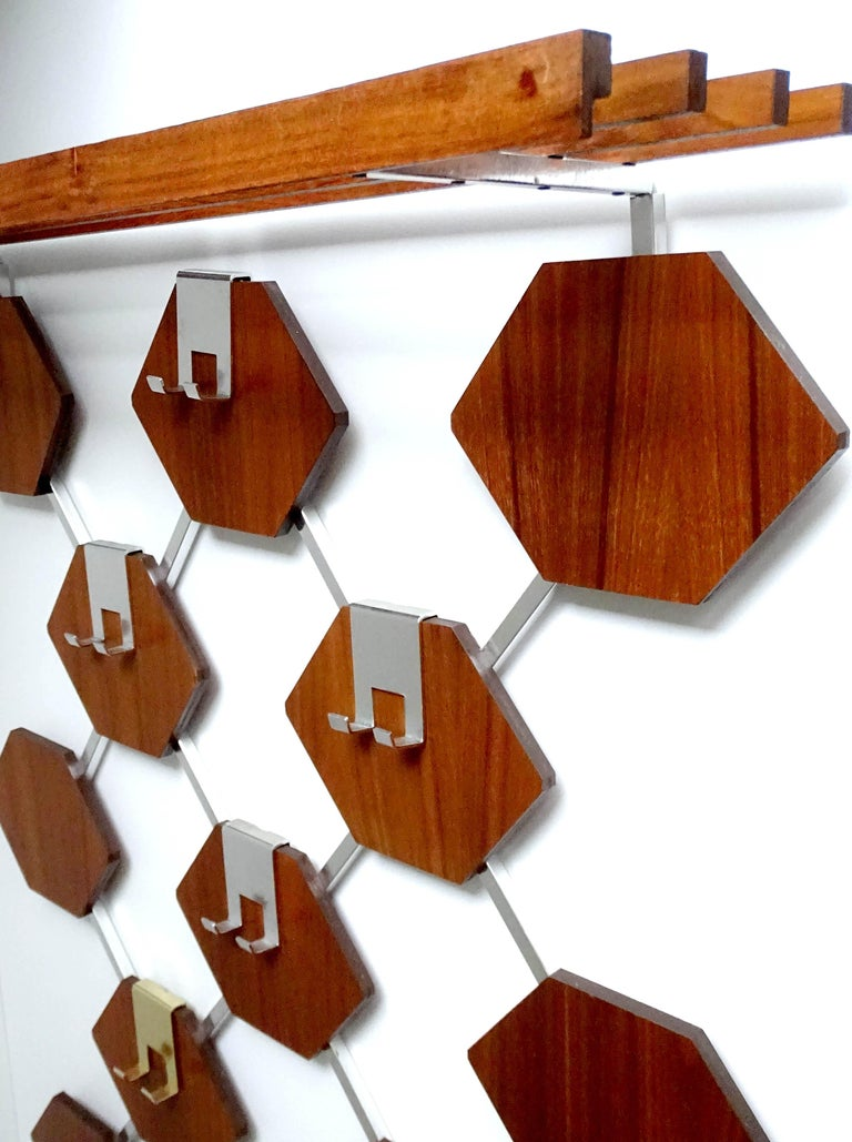 Large Midcentury Danish Modern Wall Mounted Teak Coat Rack, 1960s For Sale 6