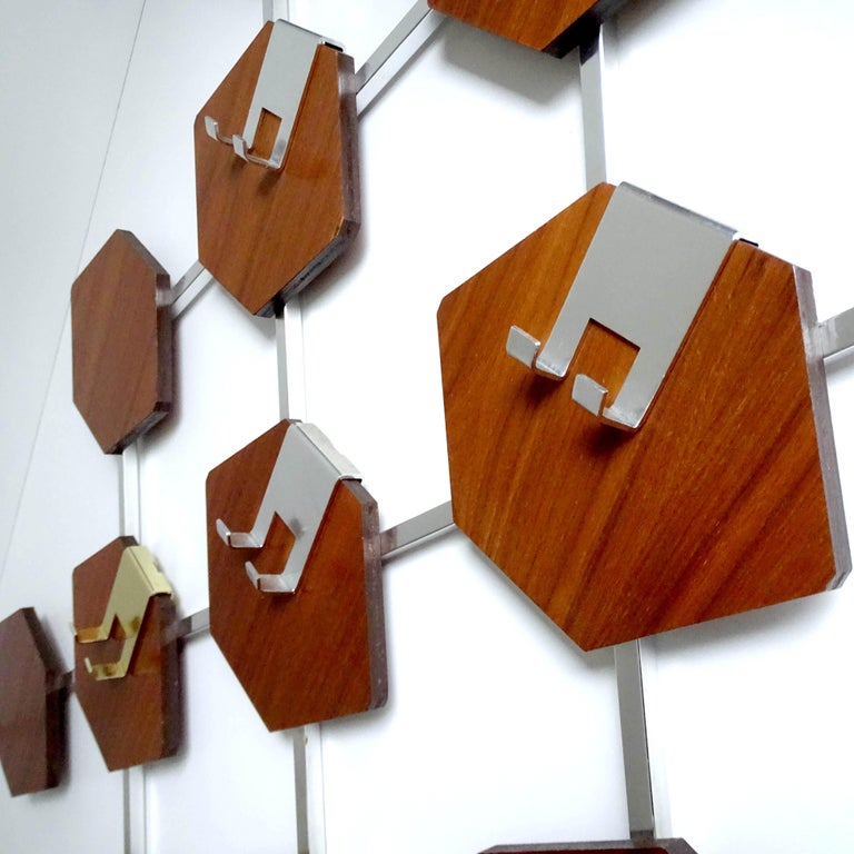 Large Midcentury Danish Modern Wall Mounted Teak Coat Rack, 1960s For Sale 9