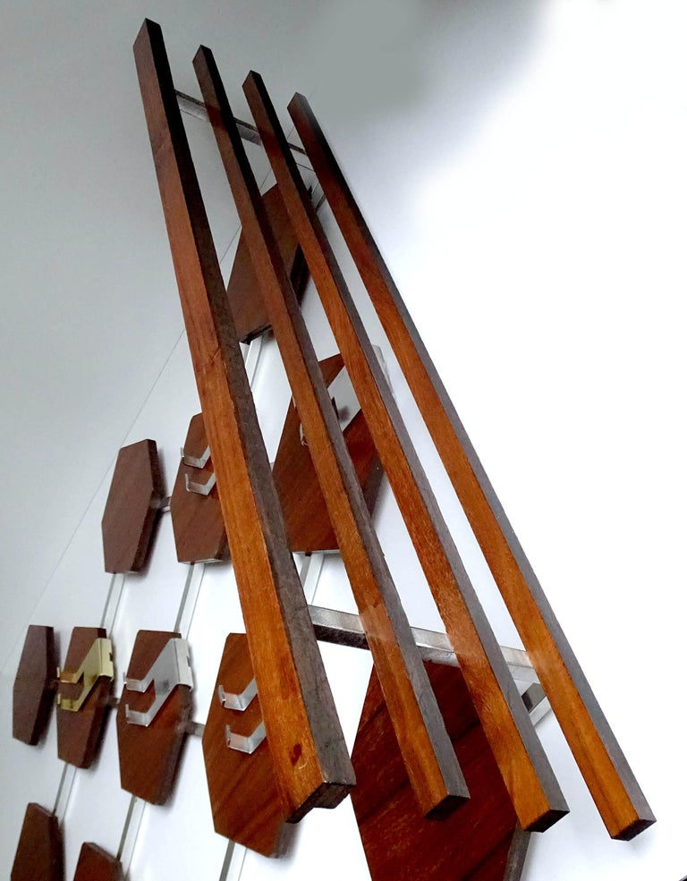 Large Midcentury Danish Modern Wall Mounted Teak Coat Rack, 1960s For Sale 12