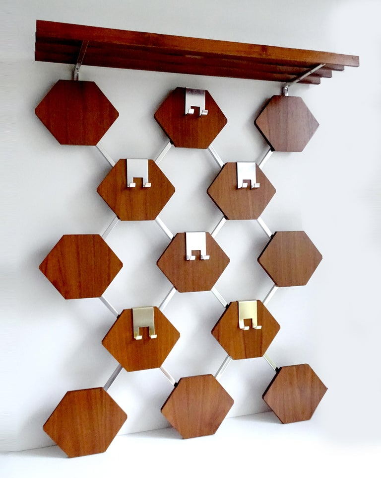 Mid-Century Modern Large Midcentury Danish Modern Wall Mounted Teak Coat Rack, 1960s For Sale