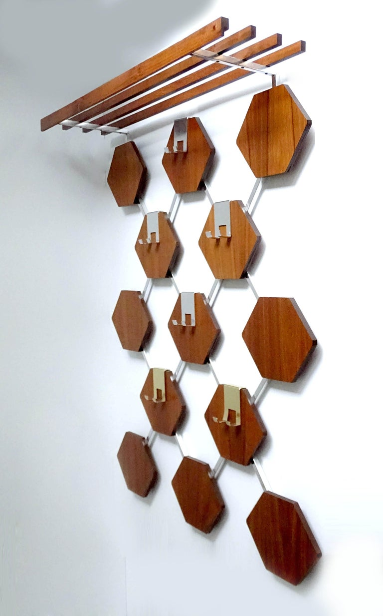 Mid-20th Century Large Midcentury Danish Modern Wall Mounted Teak Coat Rack, 1960s For Sale