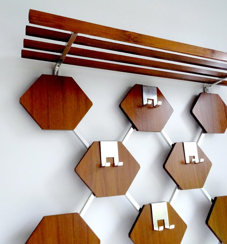 Large Midcentury Danish Modern Wall Mounted Teak Coat Rack, 1960s For Sale 1