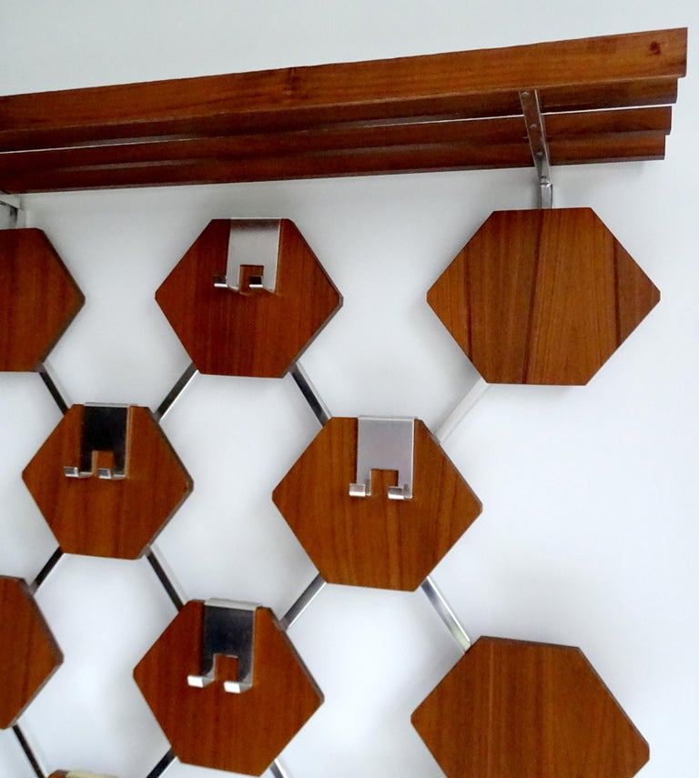 Large Midcentury Danish Modern Wall Mounted Teak Coat Rack, 1960s For Sale 2