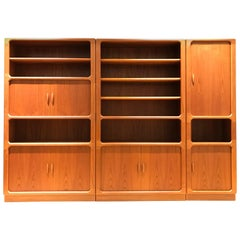 Large Midcentury Danish Teak Wall Unit by Niels Bach for Dyrlund, 1970s